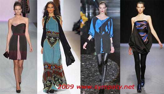 разноцветные платья осень 2009