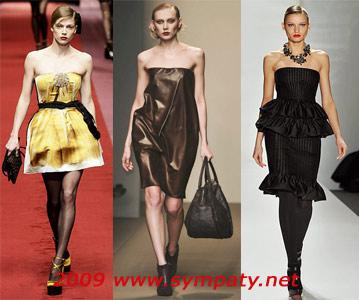 платья осень 2009 без бретелек