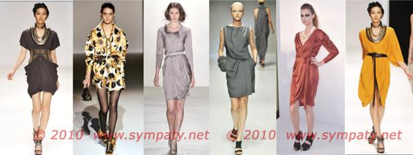 драпировки на платьях весна 2010