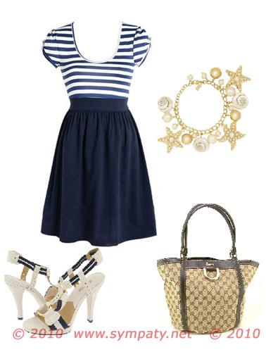 морской стиль: полосатое платье