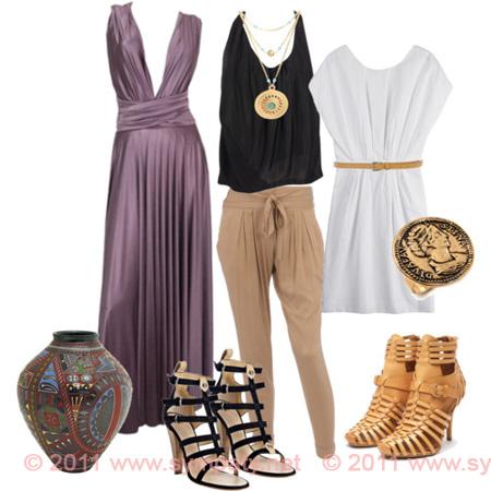Древнегреческий силь в одежде украшенияж
