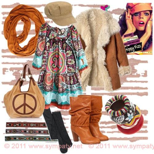Взято.  Как одеться в стили хиппи в прохладное время года.