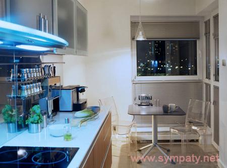 как увеличить кухню с помощью освещения