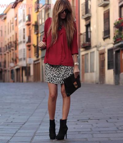 леопардовая мини юбка на выходной день
