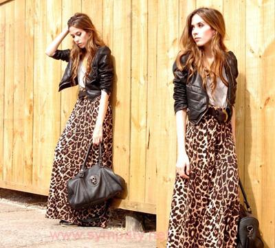 леопардовая юбка макси в городском стиле