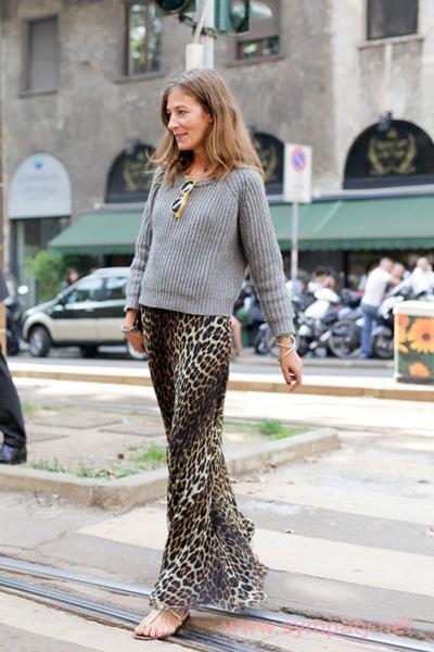 леопардовая юбка макси с чем носить