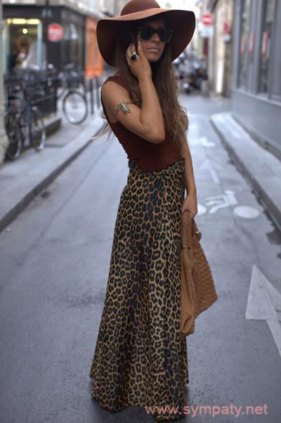 леопардовая юбка макси в богемном стиле