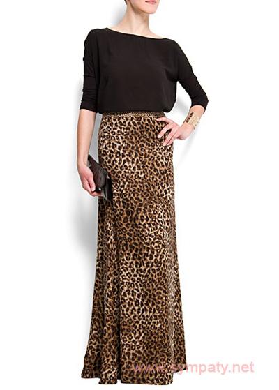 леопардовая юбка макси с чем носить вечерний стиль