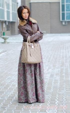 зимняя длинная юбка-1