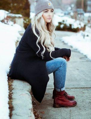 Вариант как одеться тепло и стильно зимой