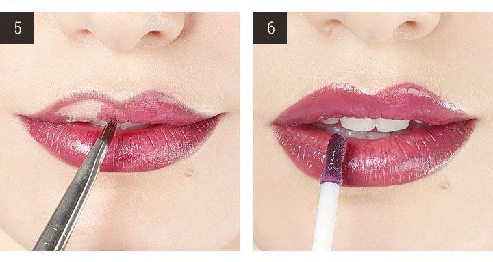 как наносить темную помаду на губы