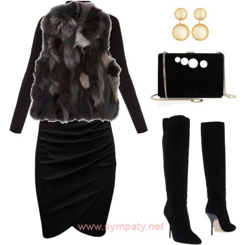 юбки-миди с чем носить зимой