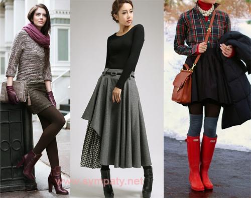 С чем носить прямую юбку зимой