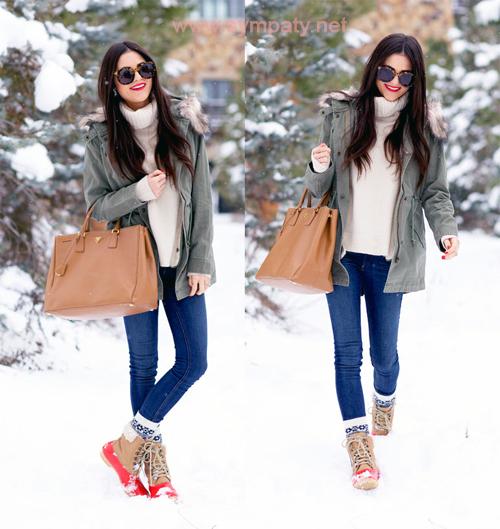 какую обувь носить с паркой зимой