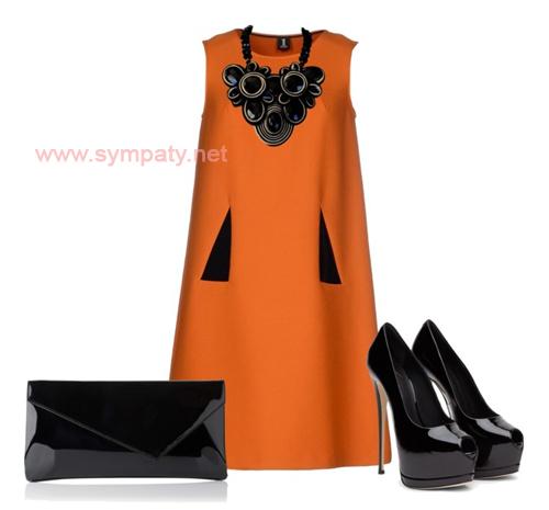 черное платье трапеция с чем носить