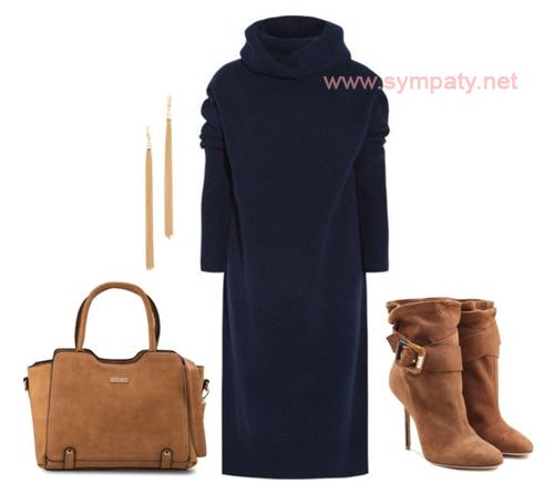 синее прямое платье с чем носить