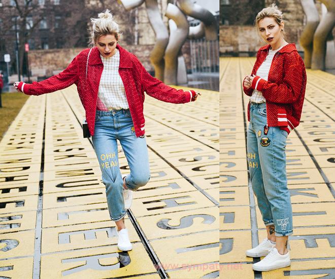 с чем носить завышенные джинсы
