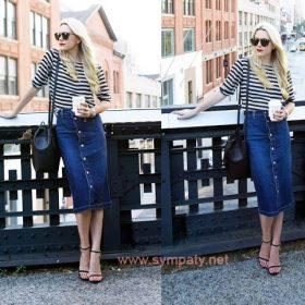 с чем носить джинсовую юбку на пуговицах