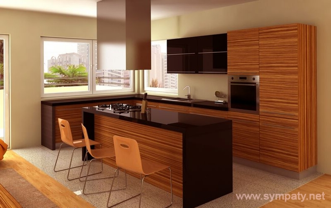 кухня зебрано в интерьере
