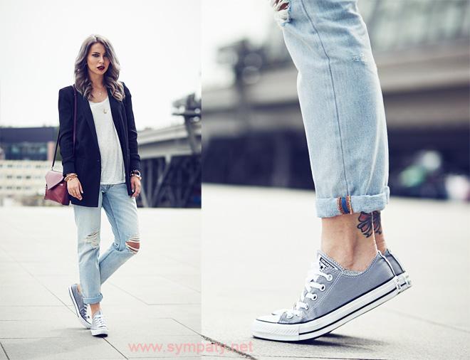 с чем носить джинсовые кеды
