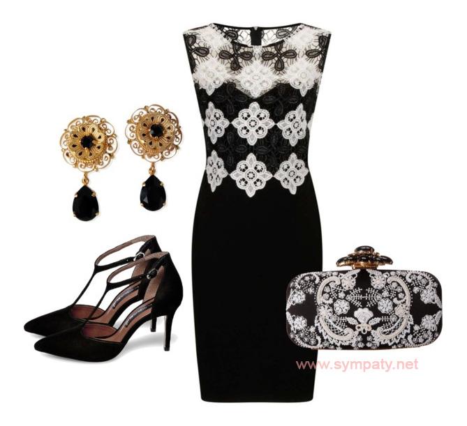 черно белое платье с чем носить