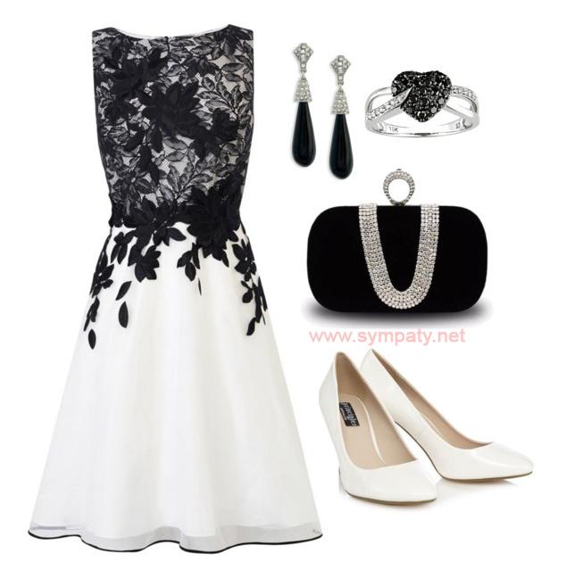 черно белое платье какой обувью носить