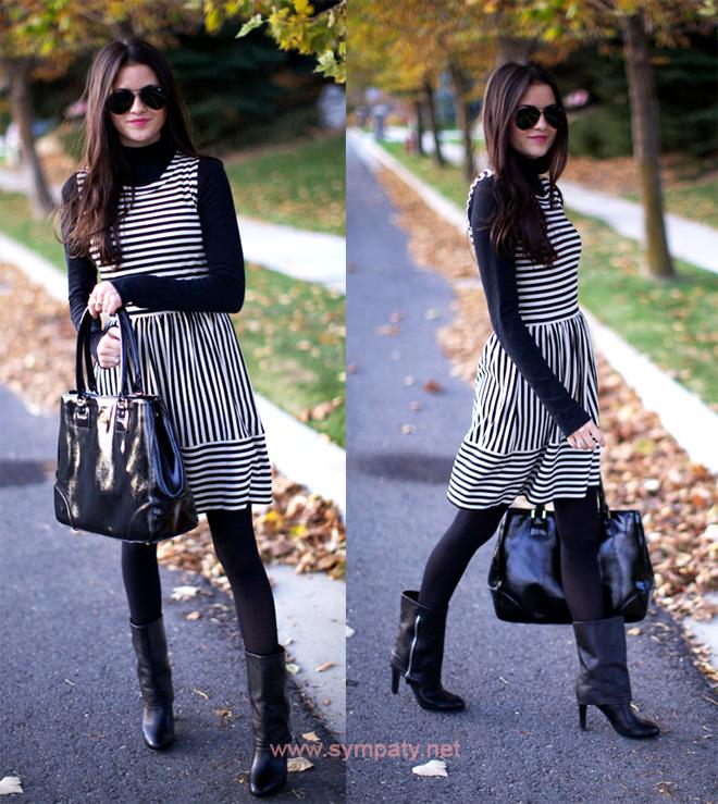 черное с белым платье носить