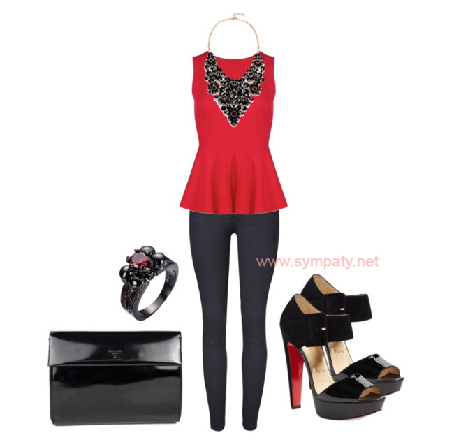 красная блузка с баской с чем носить