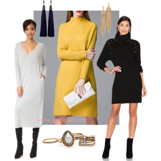 платье свитер с чем носить