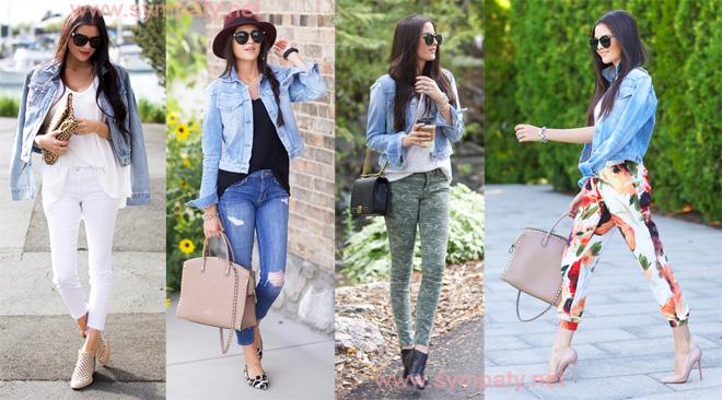 с чем носить короткую джинсовую куртку