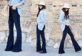 с чем носить синие джинсы клеш