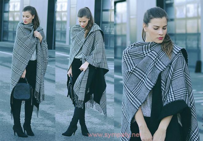 шарф-пончо как носить