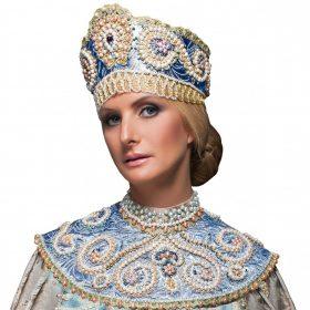 голубой наряд в русском стиле