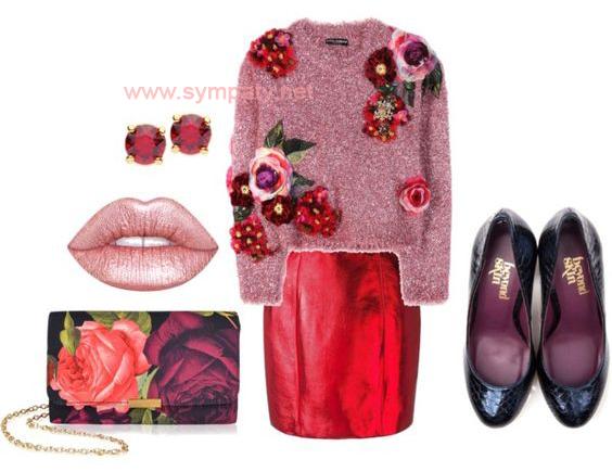 Яркий, сочный образ с красной мини-юбкой металлик