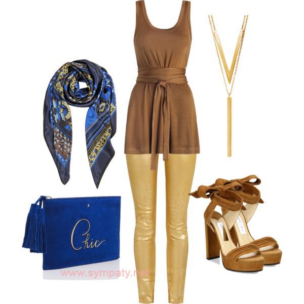 Образ обыгрывает красивое сочетание оттенков синего и золотого