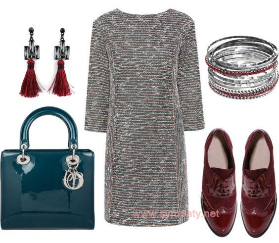 Платье с легким вкраплением люрексовой нити можно дополнить правильно подобранными блестящими аксессуарами