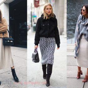 Примеры сочетания различной обуви и вязаной юбки