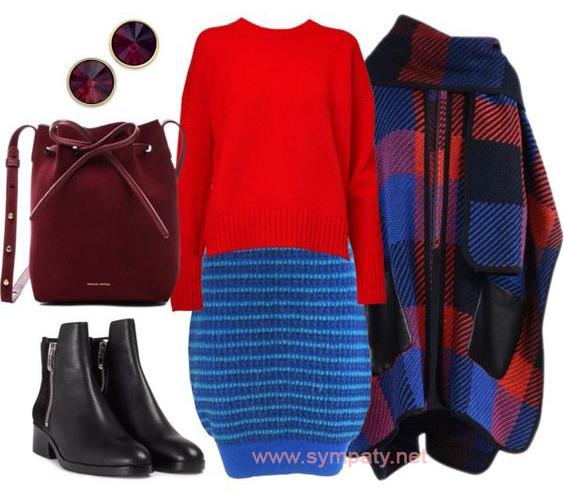 Вещи оверсайз как правило хорошо смотрятся с вязаной юбкой
