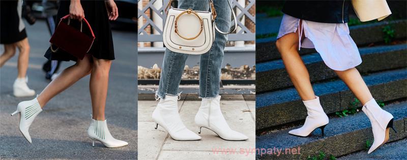С чем носить белые ботильоны на каблуке