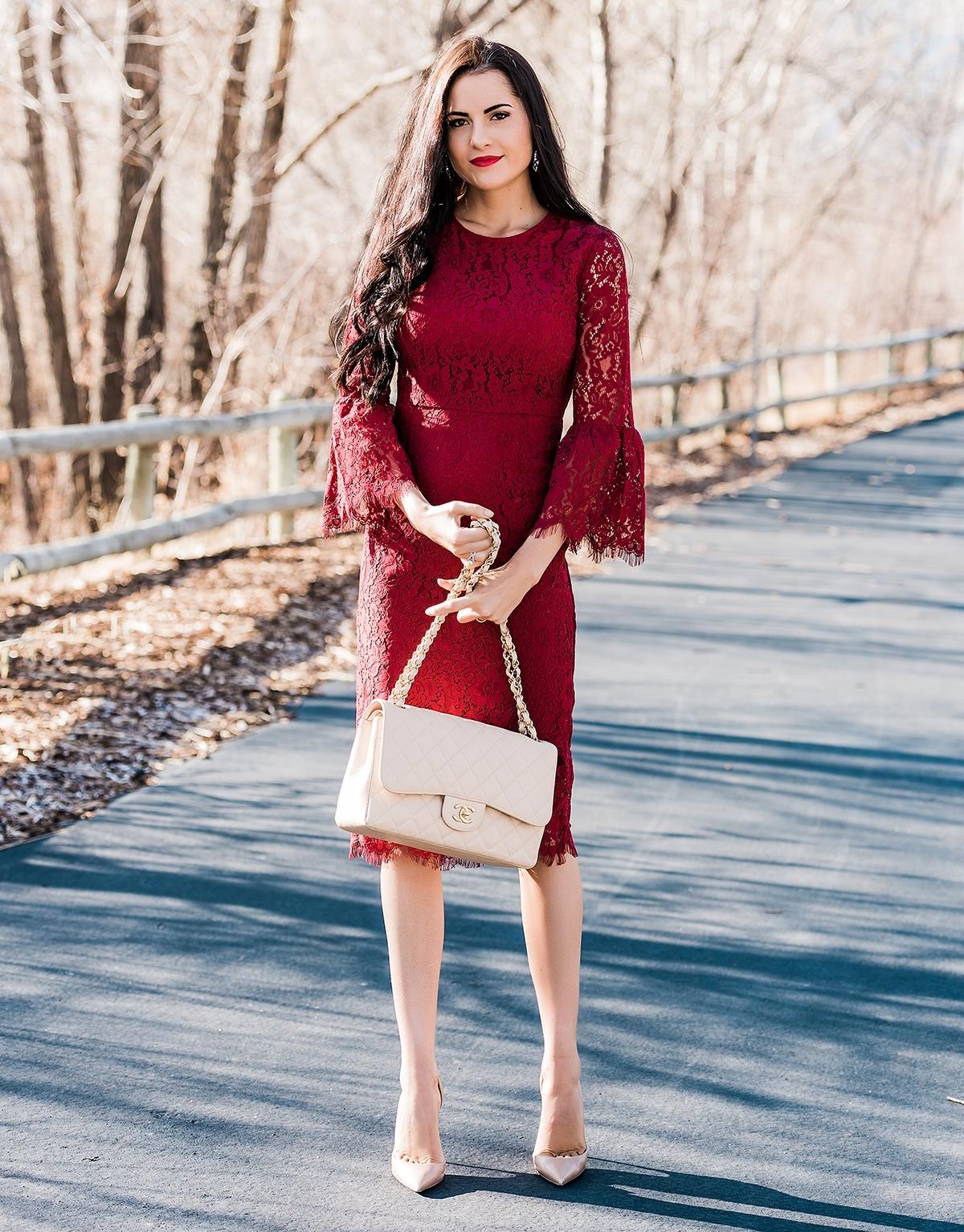 бордовое платье для свидетельницы фото
