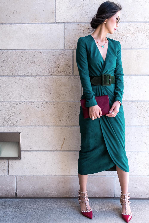длинное зеленое платье свадьба