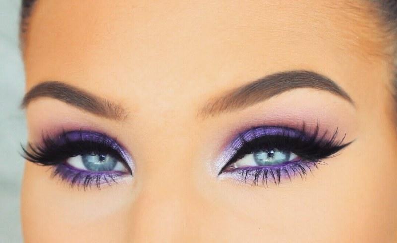 Фиолетовый смоки айс для голубых глаз пошагово