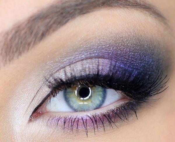 смоки айз голубые глаза фиолетовые тени
